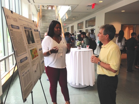 Summer Scholar Kayla Hammond discussing her research with Geoff Ginsburg